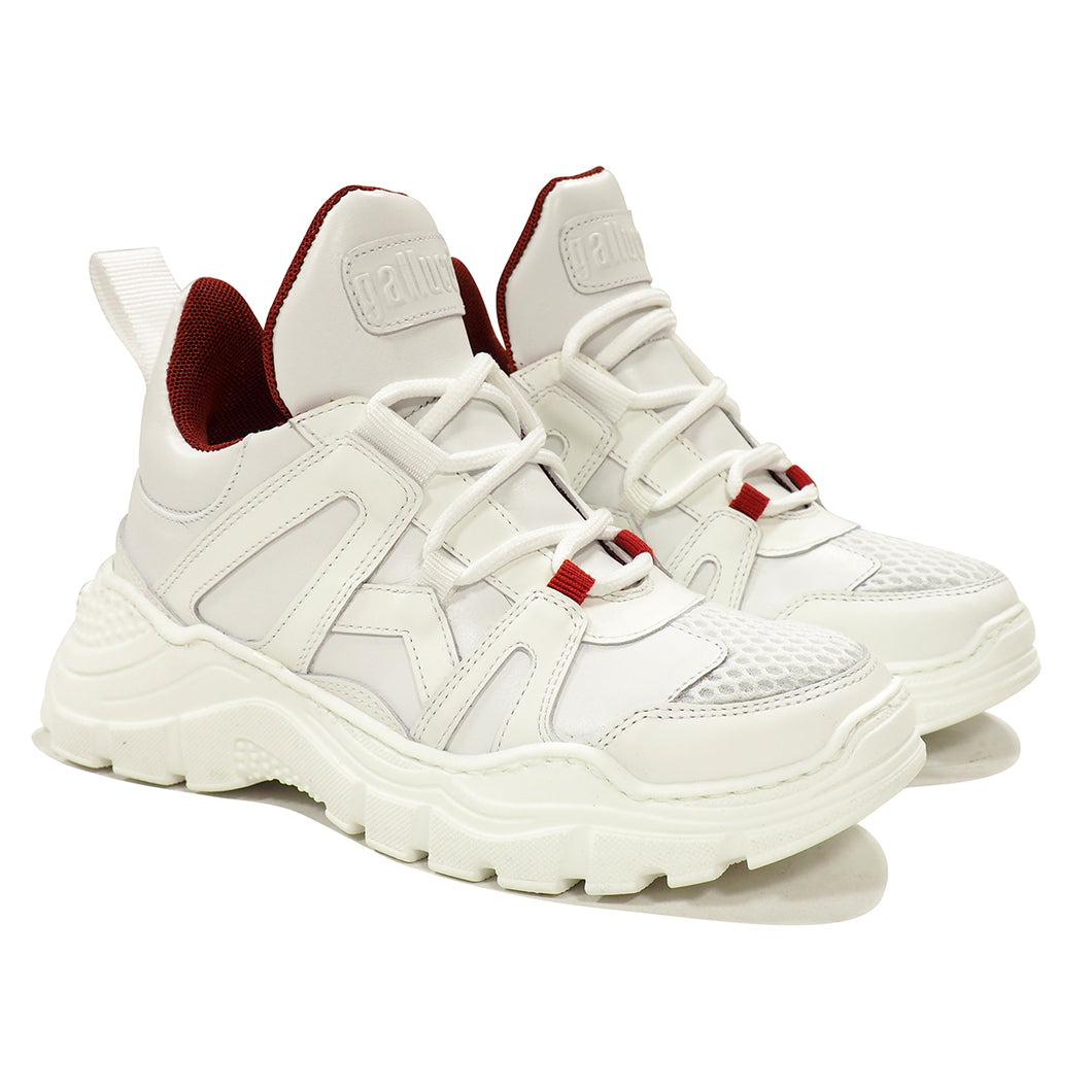 Chunky fashion sneakers in full white