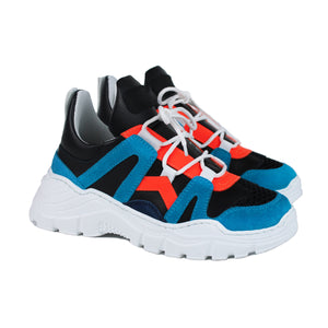 Chunky fashion sneakers in blue/orange/black