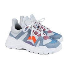 Load image into Gallery viewer, Chunky fashion sneakers in grey/orange/white