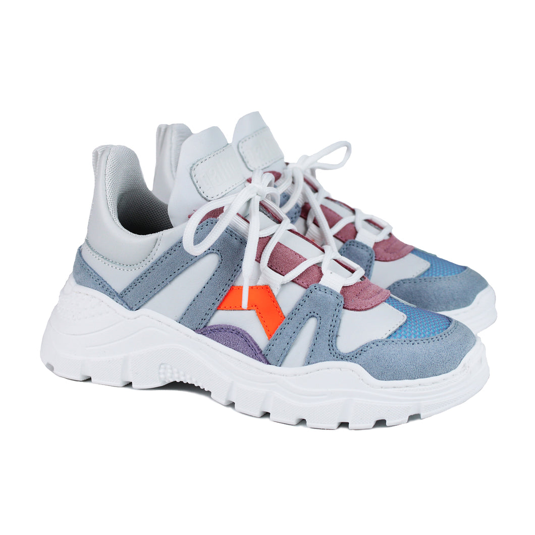 Chunky fashion sneakers in grey/orange/white