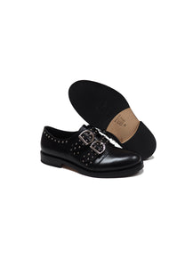 Double Buckles Derby in Black Calf Leather with Studs