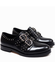 Load image into Gallery viewer, Double Buckles Derby in Black Calf Leather with Studs