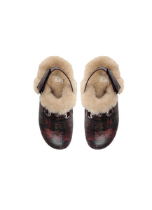 Single Strap Slipper in Tartan Fabric with shearling