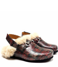 Load image into Gallery viewer, Single Strap Slipper in Tartan Fabric with shearling
