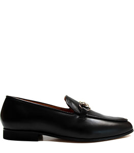 Black classic loafers in calf leather
