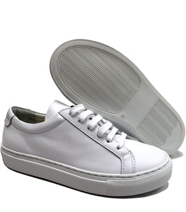White sneakers in calf leather