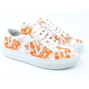 White sneaker with iconic orange Gallucci Love print