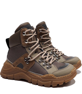 High-Top Sneakers in Light Brown and Gray Technical Fabrics