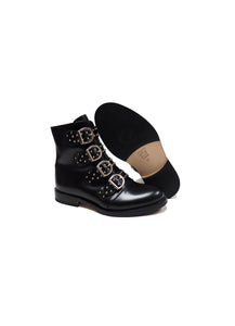 Boots with Buckles in Black Calf Leather with Studs