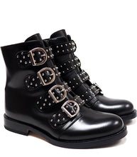 Load image into Gallery viewer, Boots with Buckles in Black Calf Leather with Studs