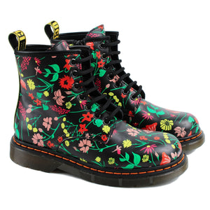 Ankle Boots in black with floral print