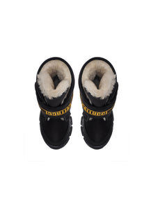Single Strap Boots in black Technical Fabrics with Fur