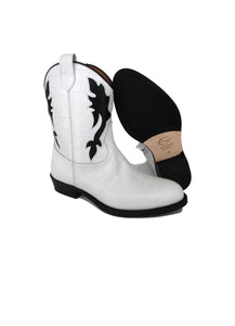 Texan Boots in White Crocodile Effect