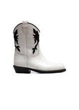 Load image into Gallery viewer, Texan Boots in White Crocodile Effect