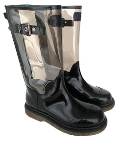 Boots in Black Calf Leather and Black PVC