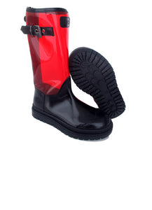 Boots in Black Calf Leather and Red PVC