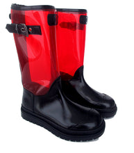 Load image into Gallery viewer, Boots in Black Calf Leather and Red PVC