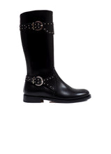 Load image into Gallery viewer, Double Buckles Boots in Black Calf Leather with Studs