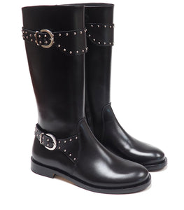 Double Buckles Boots in Black Calf Leather with Studs