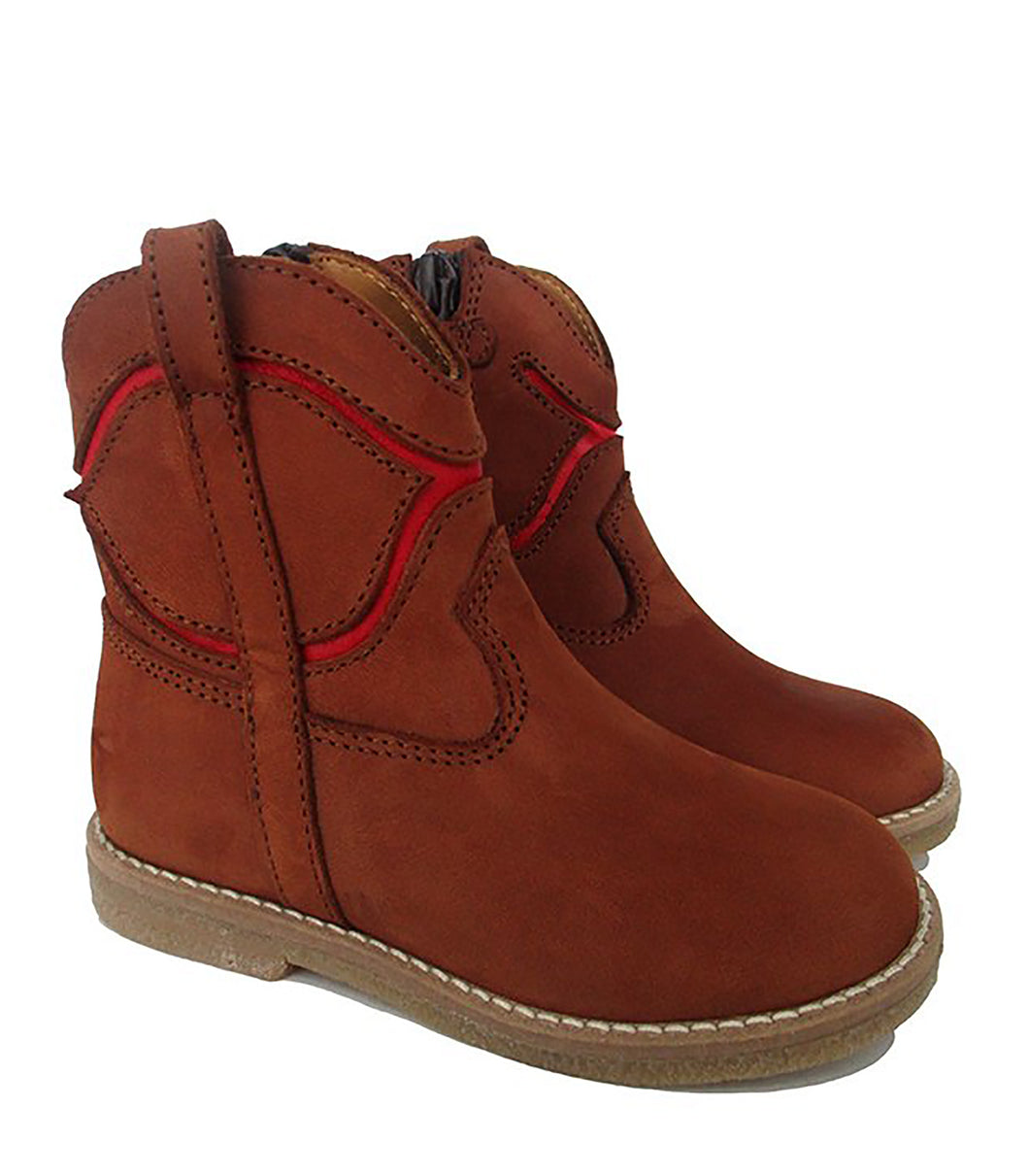 Toddler Boots in Brown and Red Nabuk