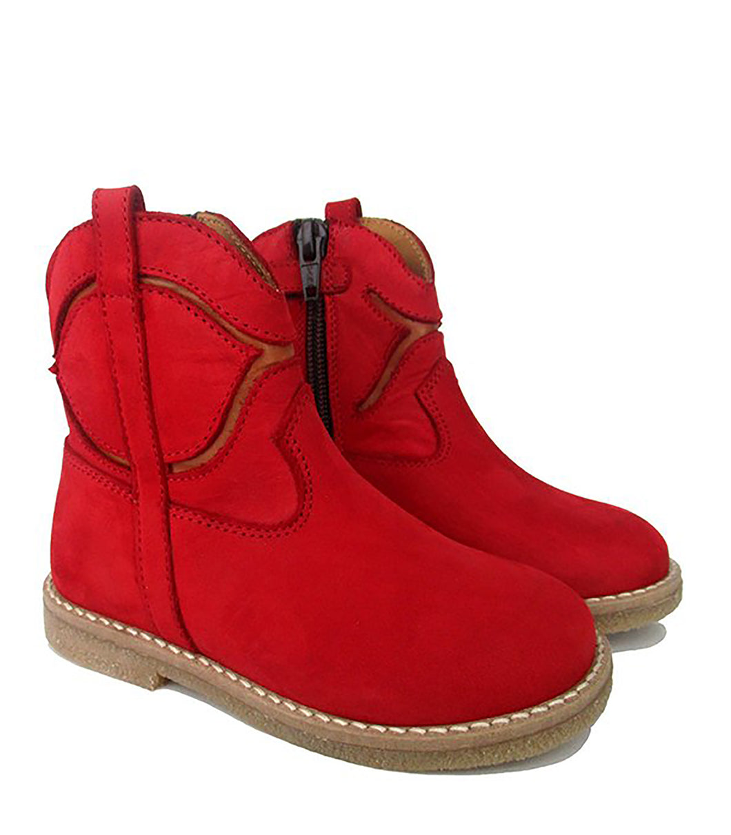 Toddler Boots in Red and Tan Nabuk