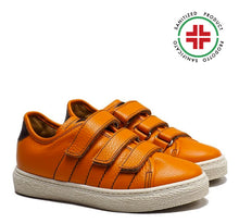 Load image into Gallery viewer, Triple Strap Sneakers in Orange Calf Leather