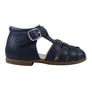 Navy toddler shoes with buckle and rubber sole
