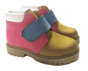 Toddler Ankle boots in yellow with blue and pink details
