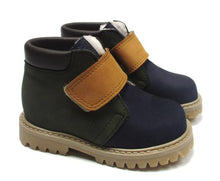 Load image into Gallery viewer, Toddler Ankle boots in blue with green and yellow details