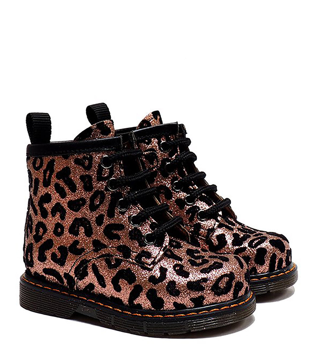 Toddler Boots in Pink Animalier Glitter