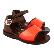 Load image into Gallery viewer, Tan toddler sandal and orange fluo details