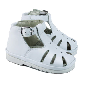 White toddler sandals with rubber sole