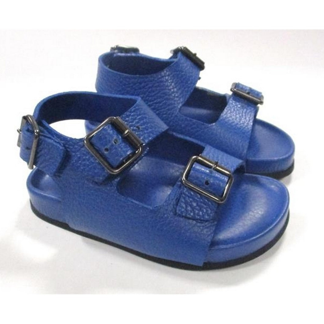 Blue double buckle toddler sandal with back strap