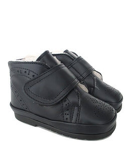 Toddler Brogue Shoes in Blue Calf Leather with Fur
