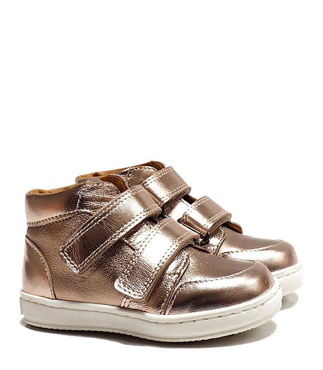 Double Strap Toddler High-Top Sneakers in Metallic Effect Pink Leather