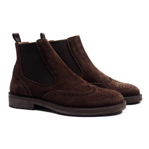 Brogues chelsea boots in brown suede
