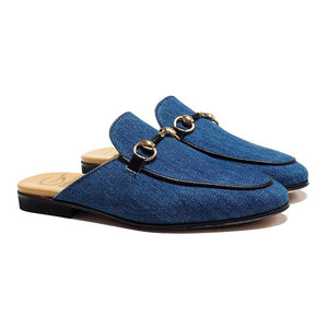 Slipper in Denim with Black Details