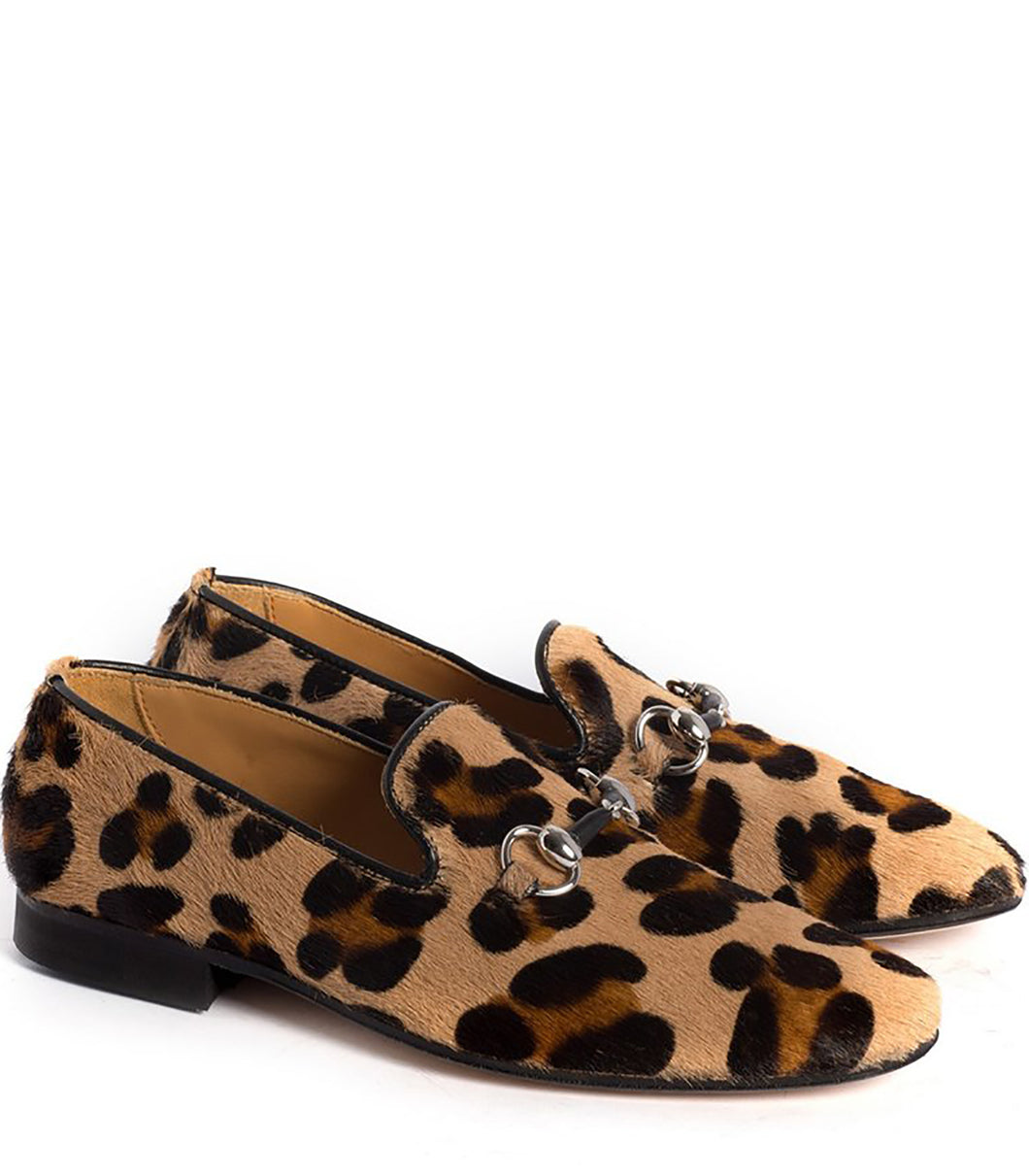 Slipper in Animalier Effect Pony Hair Leather