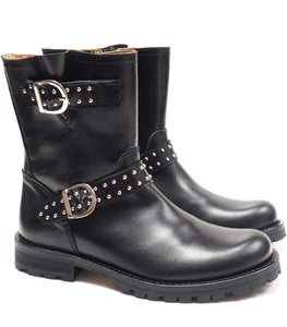 Double buckeles boots in black calf leather with small studs
