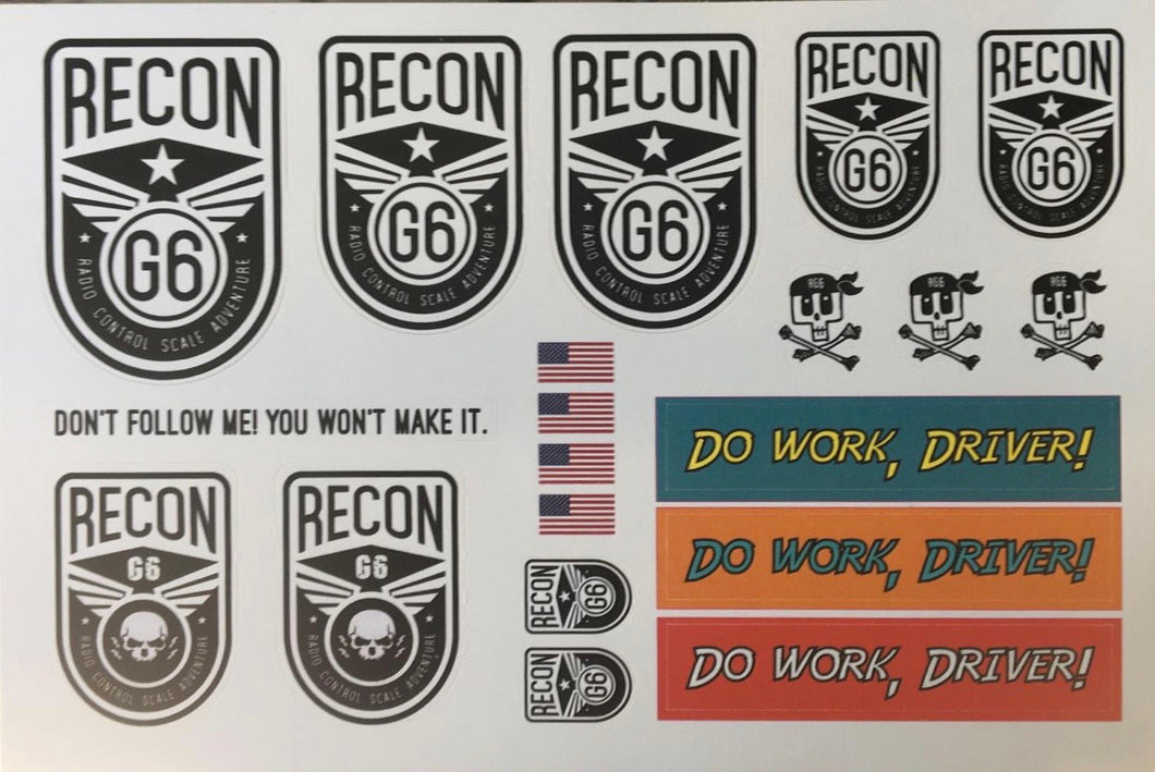 RECON G6 Sticker Sheets