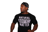 T-Shirt Black: Natural Booties Matter (Black Shirt with White Letters)