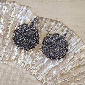 Gold and Black Crystal Earrings