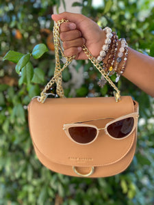 Camel Saddle Bag with Gold Accents