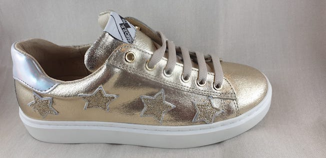SHOES 76 sneakers in pelle lacci zip stelle bianco, rosa nude, platino, bianco fucsia