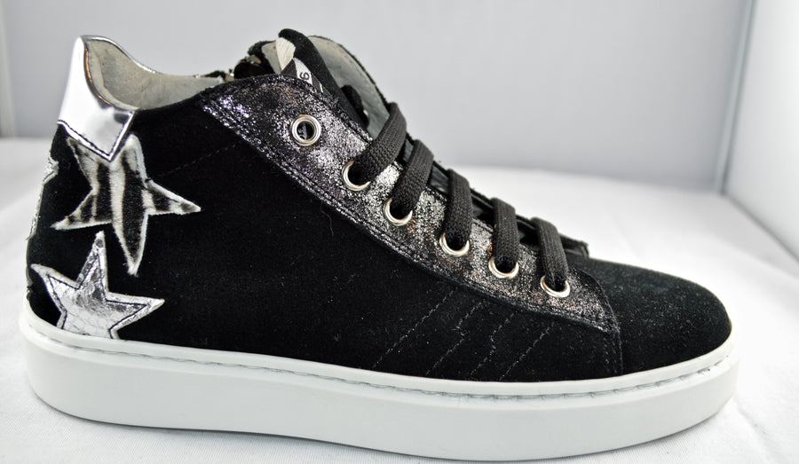 SHOES 76 sneaker lacci zip nera stelle