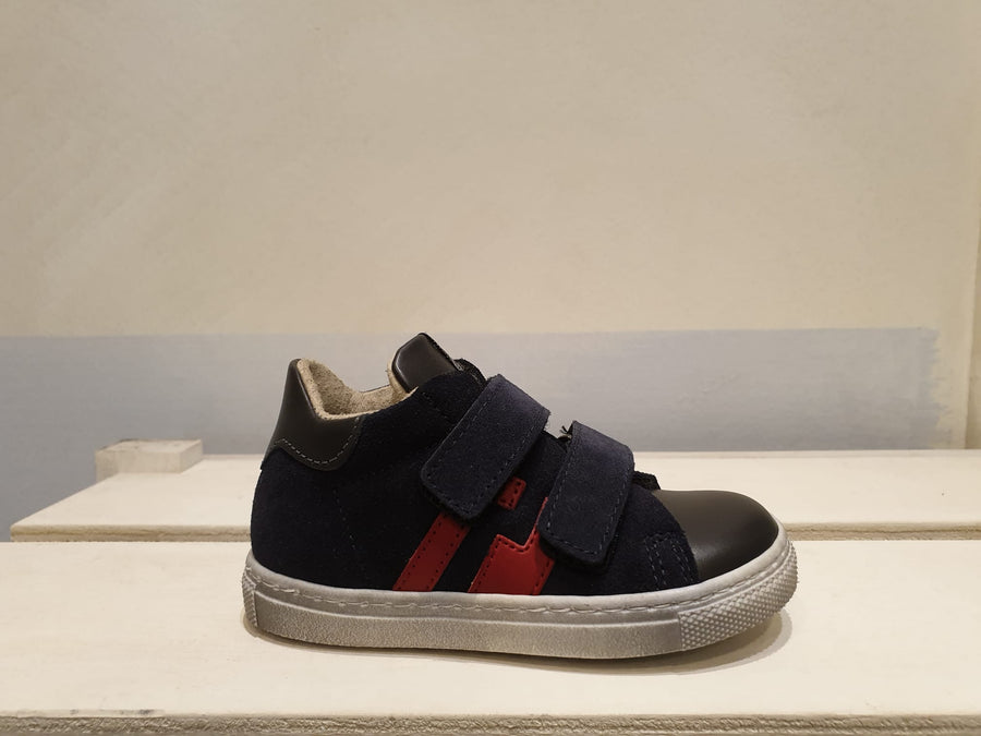 SHOES 76 sneaker velcri blu in pelle