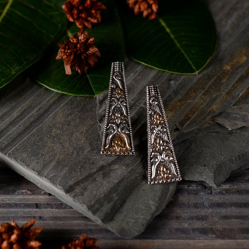 Double Strip brass Earrings