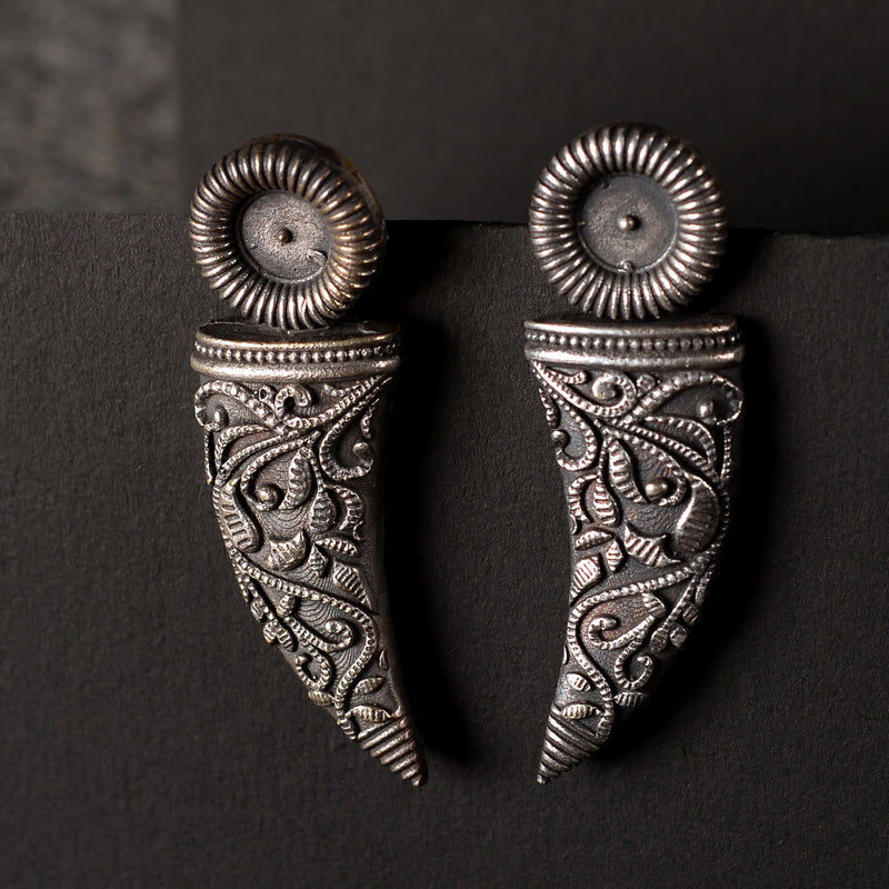 Silver toned brass handcrafted Earrings