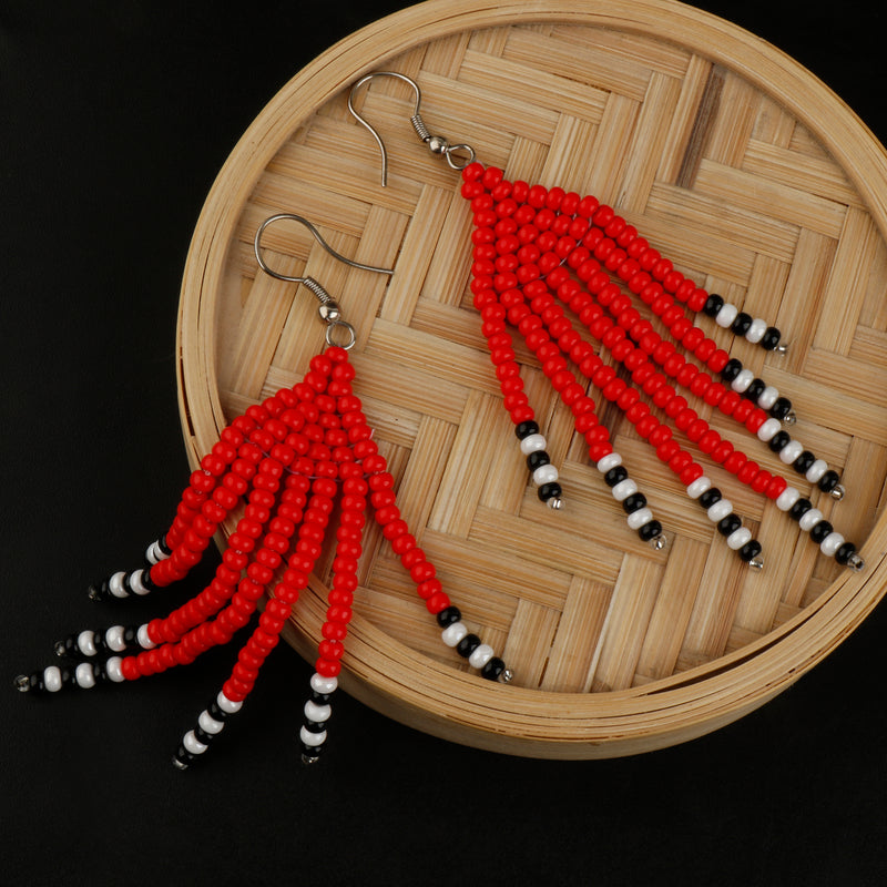 Red Beady  Earring