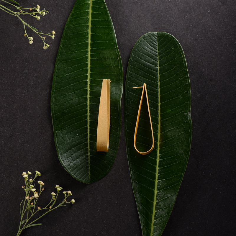 Golden oval studs  Earrings